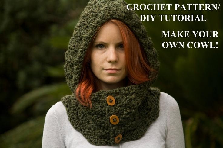 CROCHET PATTERN Hooded Cowl Pattern, Button Neck Warmer, Scoodie Pattern, Crochet Hoodie Pattern. $4.00, via Etsy.