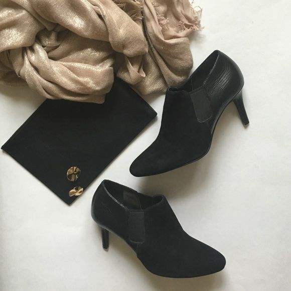 ✂️SUNDAY ONLY✂️ Cole Haan Leather & Suede Booties Perfect leather and suede ankle booties from Cole Haan. Fits a size six, make me an offer on these gorgeous shoes! Cole Haan Shoes Ankle Boots & Booties