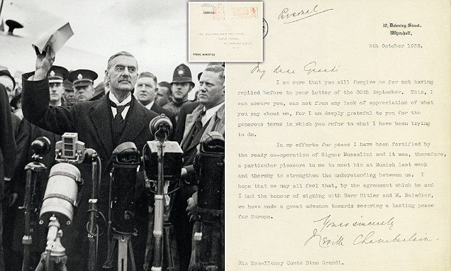 Letter From Pm Neville Chamberlain Sells For 36 000 Munich Agreement Agreement Quote Lettering