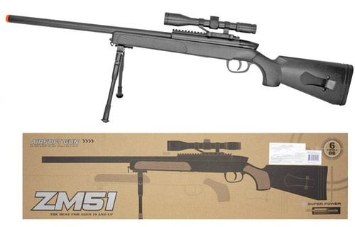 CYMA ZM51 Spring Powered Bolt Action Airsoft Sniper Rifle w Bipod and Scope $50
