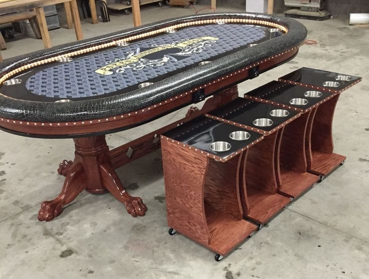 poker table with matching side tables drink carts