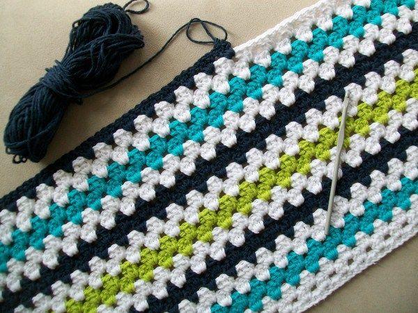 crochet modern granny stripe baby blanket. Links to free pattern.