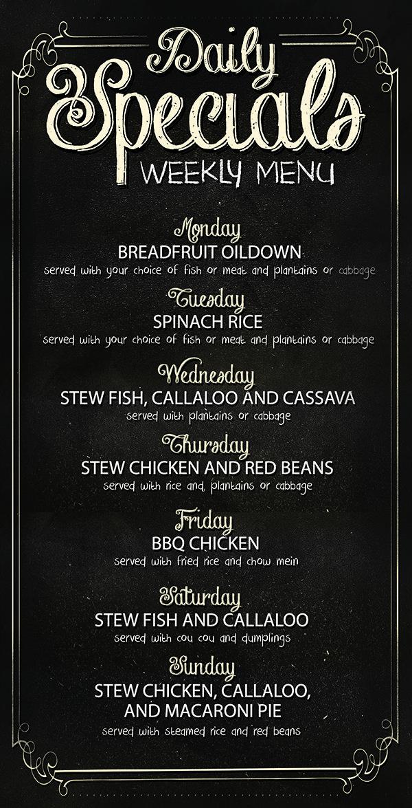 limin 39 s cafe caribe daily specials menu board menu board. Black Bedroom Furniture Sets. Home Design Ideas