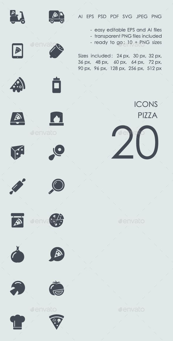 #Pizza #icons - Food Objects Download here: https://graphicriver.net/item/pizza-icons/19545877?ref=alena994