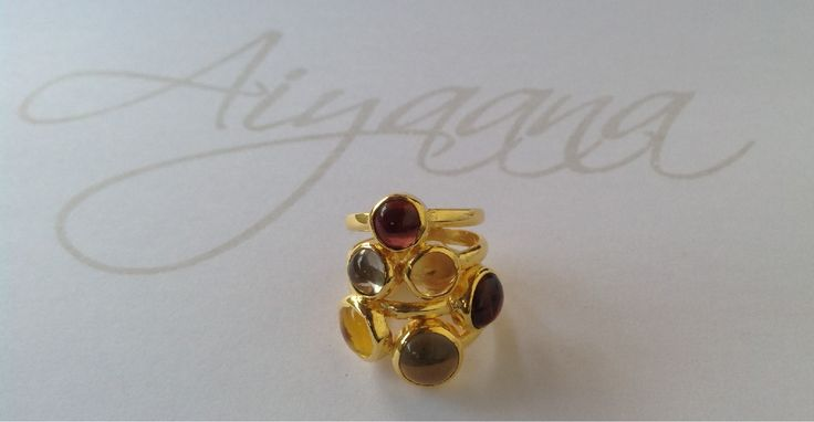 Stacked Semi Precious gem ring. Earthy tone Gems on 925 Sterling Silver.
