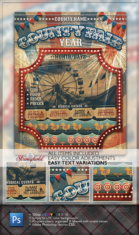 Vintage County Fair Carnival Flyer - GREAT template for carnival party invite.  $6