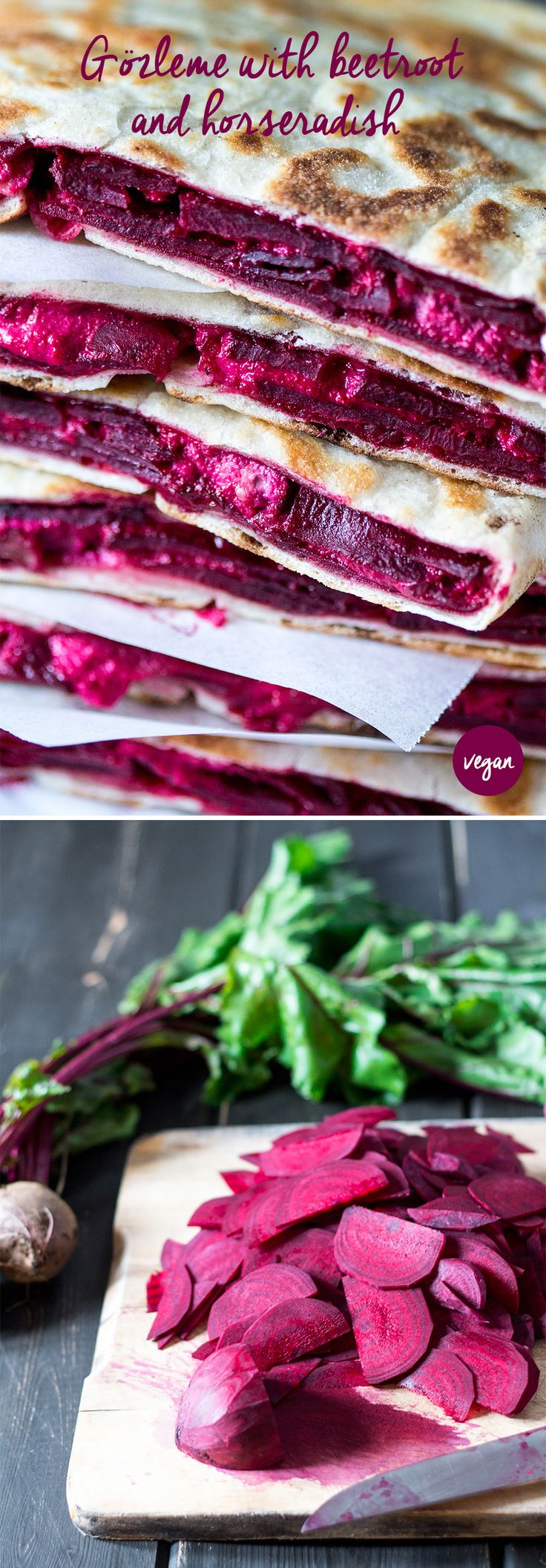 Delicious #Turkish #gozleme #straight from a #hot pan is the best #cold weather #lunch. This one is filled with a #beetroot and #horseradish #filling that's to die for. #recipe #recipes #vegan #vegetarian #sandwich