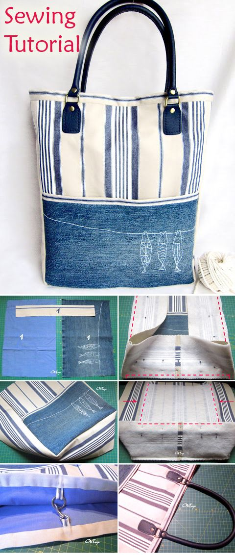 Simple bag with handles. Sewing instructions # Sewing #Bags #Instruction   – Taschen nähen