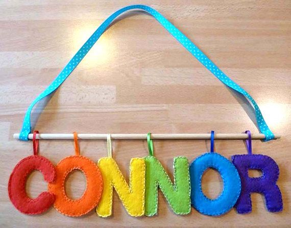 childrens name plaque Child's felt name hanging by GinisBoutique, £20.00