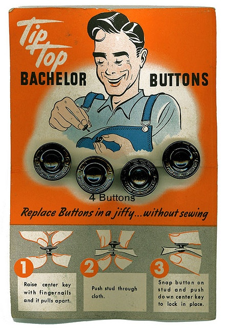 Vintage packaging for Tip Top Bachelor Buttons.