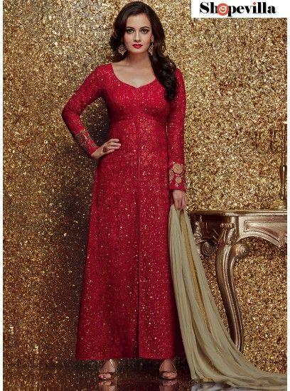 Sightly Embroidered Georgette Red Designer Salwar Kameez-5001
