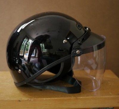 Vega Motorcycle Shiny Black Half Helmet Xl Cfs Clear Drop