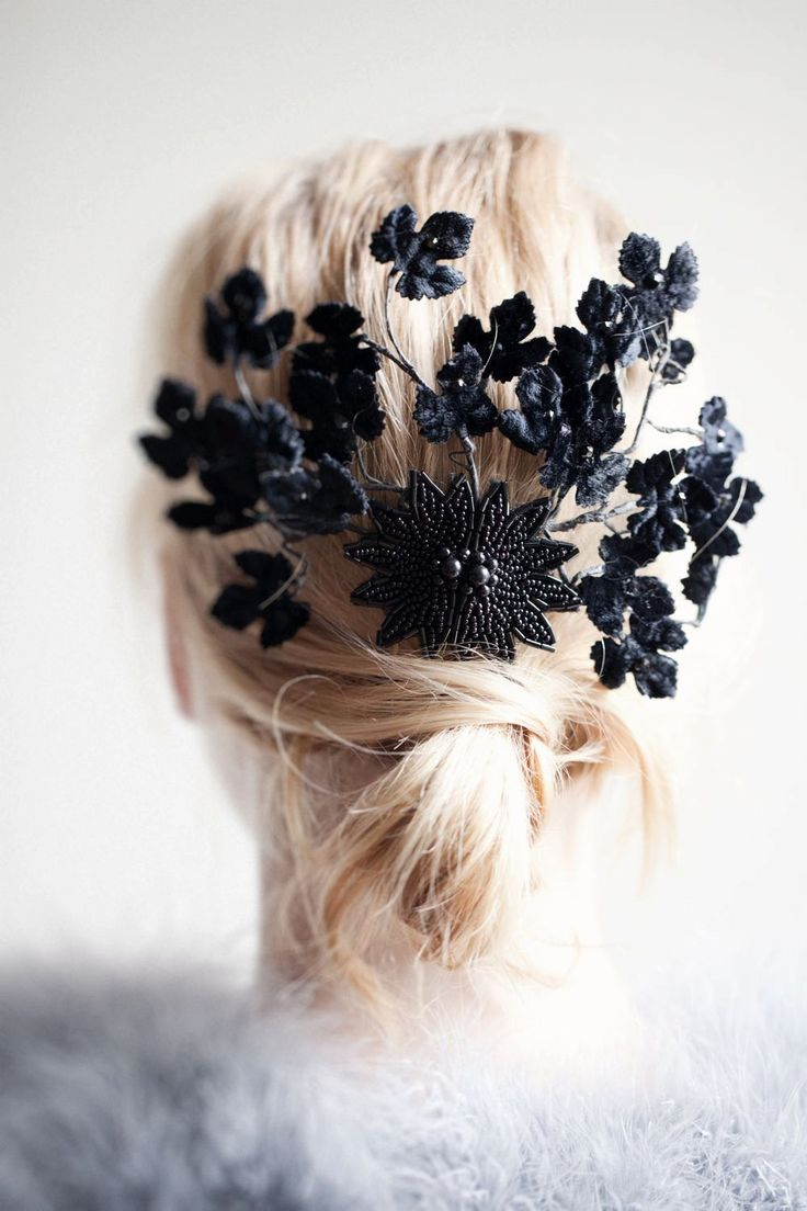 Black+Velvet+Leaf+Fascinator+by+theweddingdresser+on+Etsy,+$145.00