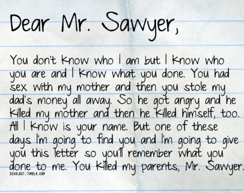 Sawyer's letter to Mr. Sawyer (aka Anthony Cooper, John's father)