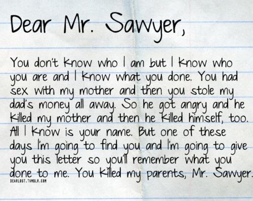 Sawyer's letter to Mr. Sawyer (aka Anthony Cooper, John's father)