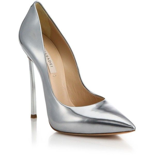 Casadei Metallic Leather Blade-Heel Pumps ($785) ❤ liked on Polyvore featuring shoes, pumps, heels, apparel & accessories, silver, cushioned shoes, casadei, heels & pumps, leather footwear and metallic leather shoes