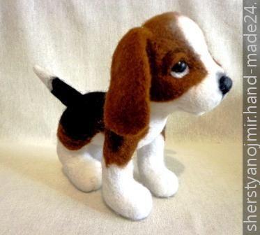 Щенок бигля / dry felting dolls, Собаки, Hand-Made24.ru