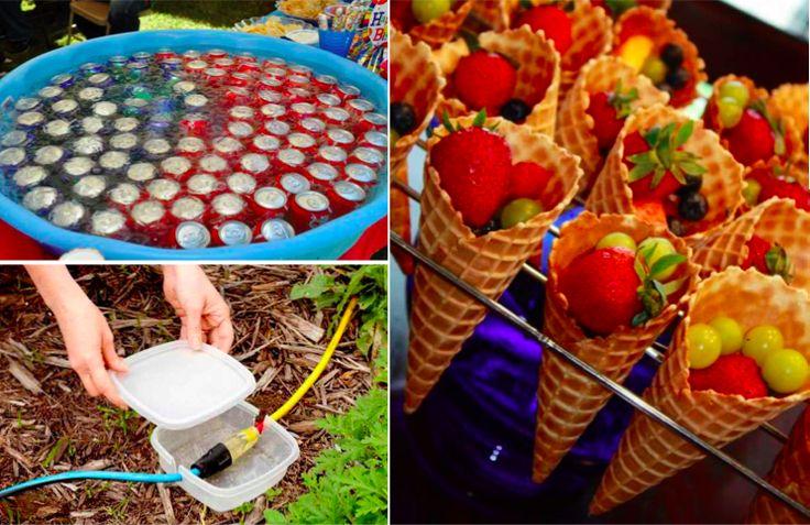 14 astuces pour réussir une fête dans son jardin noté 4.33 - 3 votes 8. Placez vos canettes au frais dans une piscine en plastique remplie de glace. D'ailleurs, si vous voulez d'autres astuces pour réutiliser votre piscine en plastique, c'est ici ! 9. Servez la salade dans des gobelets en plastique pour pouvoir la …