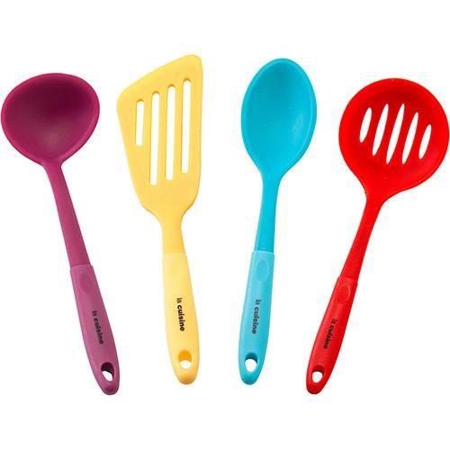 Conjunto Utensilios de Silicone Coloridos 4 Peças - La Cuisine