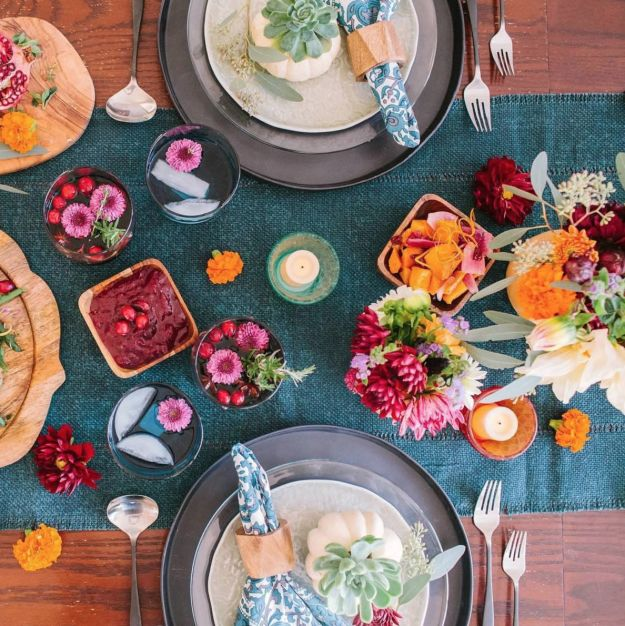 This colorful table. | 17 Thanksgiving Tables That Are Goals AF
