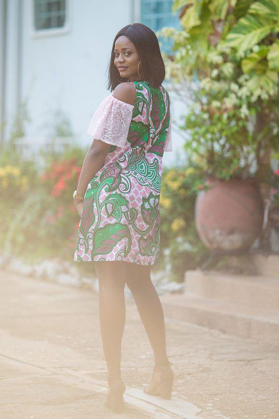 Ankara negeert jurk African print met kant mouwen jurk jurk