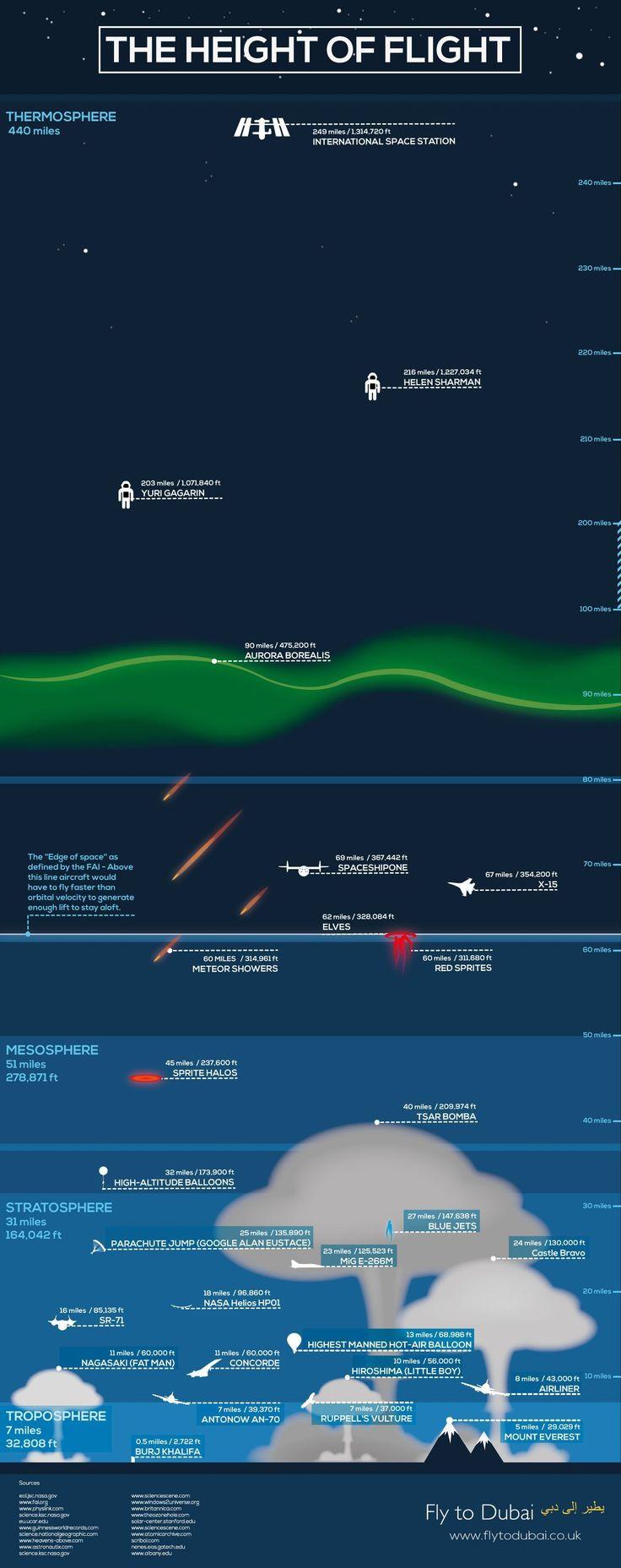 The Height of Flight #infographic #Travel #mushroominfographic