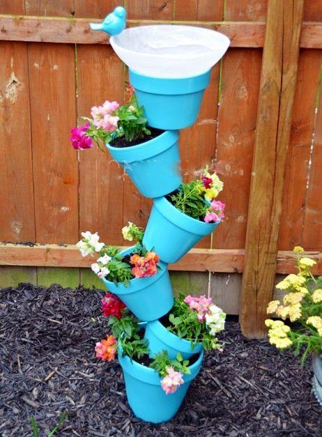 Diy Stacked Flower Pots Cute Ideas Pinterest