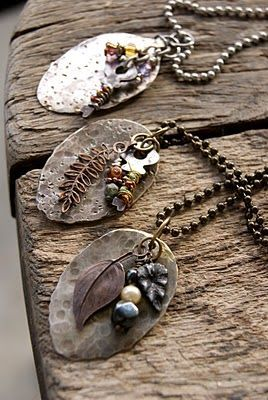 Flattened spoons - this one is the coolest ever. I bought some old spoons on flea market and flattened them with a hammer. You need the right tools for cutting the handles and drilling the holes. Or you find yourself a handyman. put a little silver heart, a small key and some