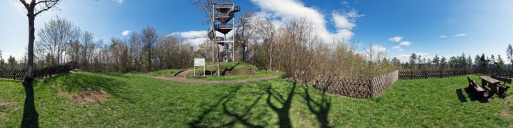 This panorama shows the Krawutschke Tower at the top of the hill called Burgberg and Hill 400 in Bergstein in the Hurtgen Forest in the Eifel in Germany.