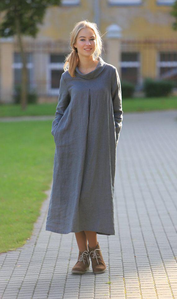 Wool/linen mixed fabric dress. Long sleeves dress / Simple Casual natural linen clothing. Flax dress
