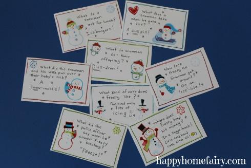 Printable Snowman Lunchbox Joke Cards