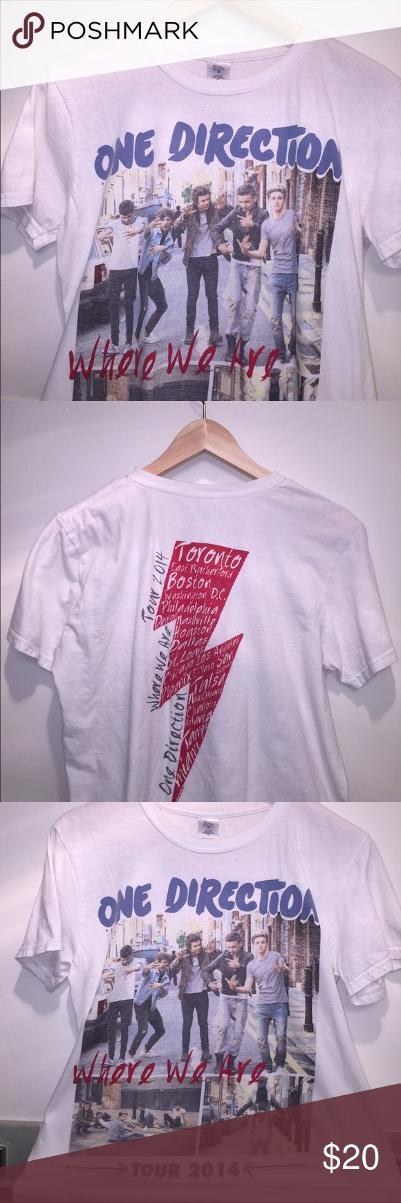 One Direction Where We Are Tour 2014 Shirt One Direction is gone (for now...) but never forgotten with this shirt complete with all five boys! Reminisce on the good ol' days back when life was simple and easy. The 2014 Where We Are Tour. Arguably the best tour... The shirt itself is in extremely good condition with no stains, rips, or anything, it's genuinely good as new. Listen to old 1D songs and cry in it. A good time guaranteed One Direction Tops Tees - Short Sleeve