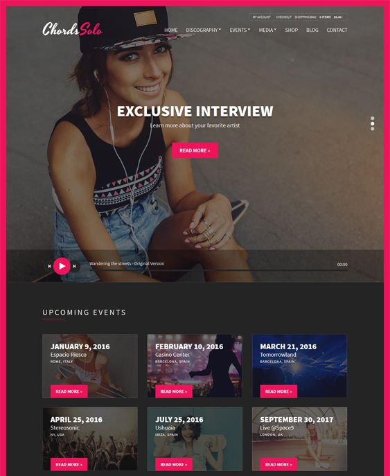 This music WordPress theme offers a responsive layout, artist, event, photo gallery, video, and discography management, a homepage builder, WPML compatibility, a Bootstrap framework, an audio player, and more.