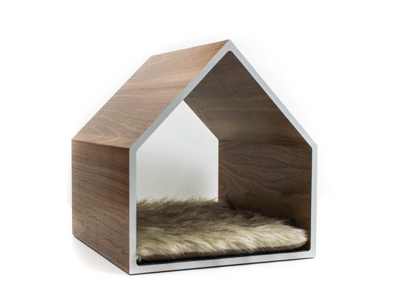 Modern Cat House, Pet Bed, Small Dog House, made from sustainable Walnut accented with Colored Laminate, fur cushion insert optional