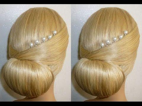 Лёгкая причёска на выпускной, вечерняя, свадебная причёска на средние/длинные волосы.Пучок из волос - YouTube