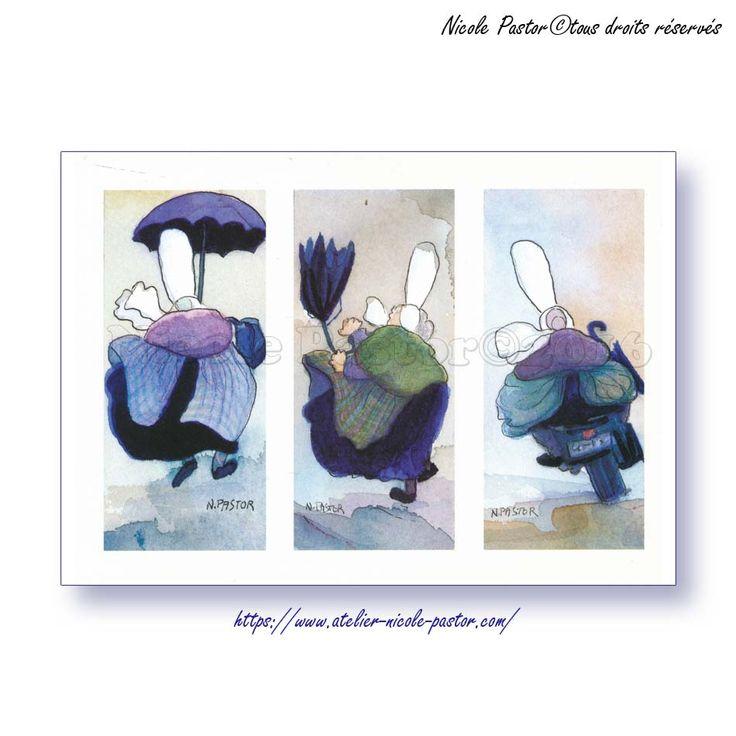 Triptyque moto. Carte postale Les Bigoudenes de Nicole Pastor. 1998