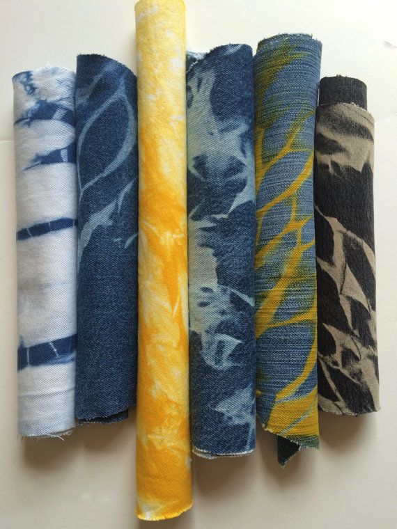 Denim Shibori Repurposed Fabric by CapeCodShibori on Etsy