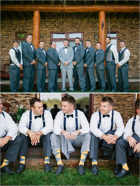 gray and yellow argyle socks for the groomsmen. I like the bowties & suspenders!