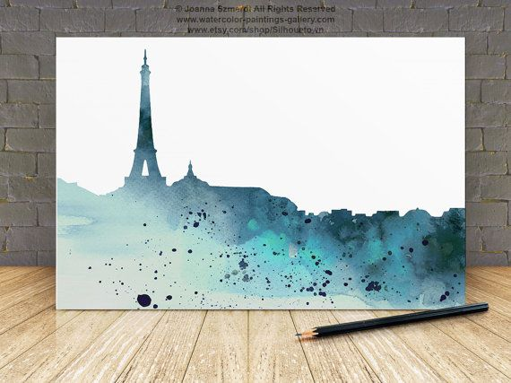 Teal Watercolor Painting Paris City Skyline Wall Decor. Custom Silhouette Giclee Art Print Gift Idea. Turquoise Home Decor.  Type of paper: Prints up to (42x29,7cm) 11x16 inch size are printed on Archival Acid Free 270g/m2 White Watercolor Fine Art Paper and retains the look of original painting. Larger prints are printed on 200g/m2 White Semi-Glossy Poster Paper.  Colors: Archival high-quality 10-cartridge Canon Lucia Pigment Inks with a droplet size of 4.0pl and chroma optimizer ...