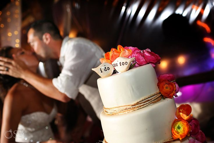 I do, me too! Pretty wedding cake with floral accents for a destination wedding at the Akiin Beach Club Tulum. Mexico wedding photographers Del Sol Photography.