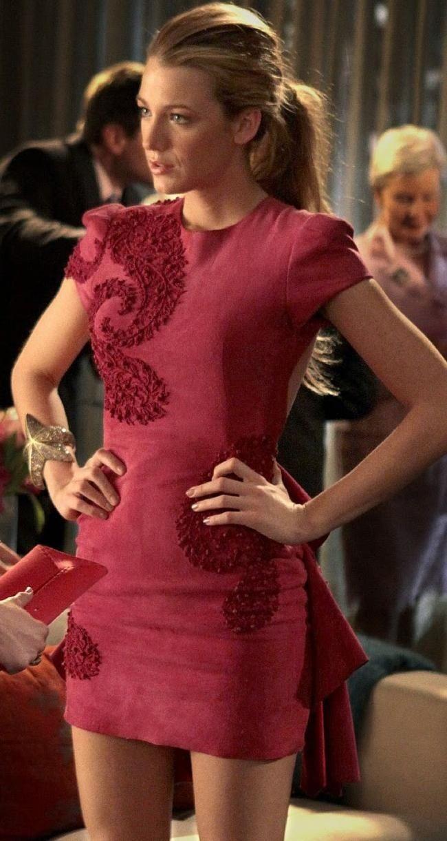 Serena van der Woodsen at Pink Party, dress - Marchesa Fall 2010