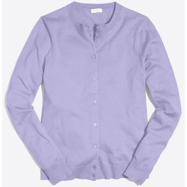 J.Crew Cotton Caryn cardigan sweater ($25) ❤ liked on Polyvore featuring tops, j crew tops, long sleeve tops, purple long sleeve top and purple top