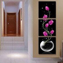 3 Panel Modern Kırmızı Çiçek Yağlıboya Tuval Duvar Sanatı Ev Dekorasyon Yatak Odası Oturma Odası Için(China (Mainland))