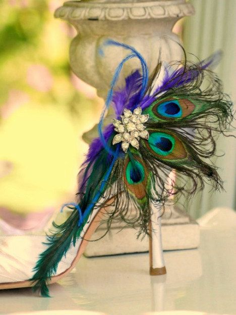 Shoe Clips Peacock Fan. Couture Bride Bridal Bridesmaid Gift, Birthday Rhinestone Crystals Flower, Statement Luxurious Bachelorette Party. $64.00, via Etsy.