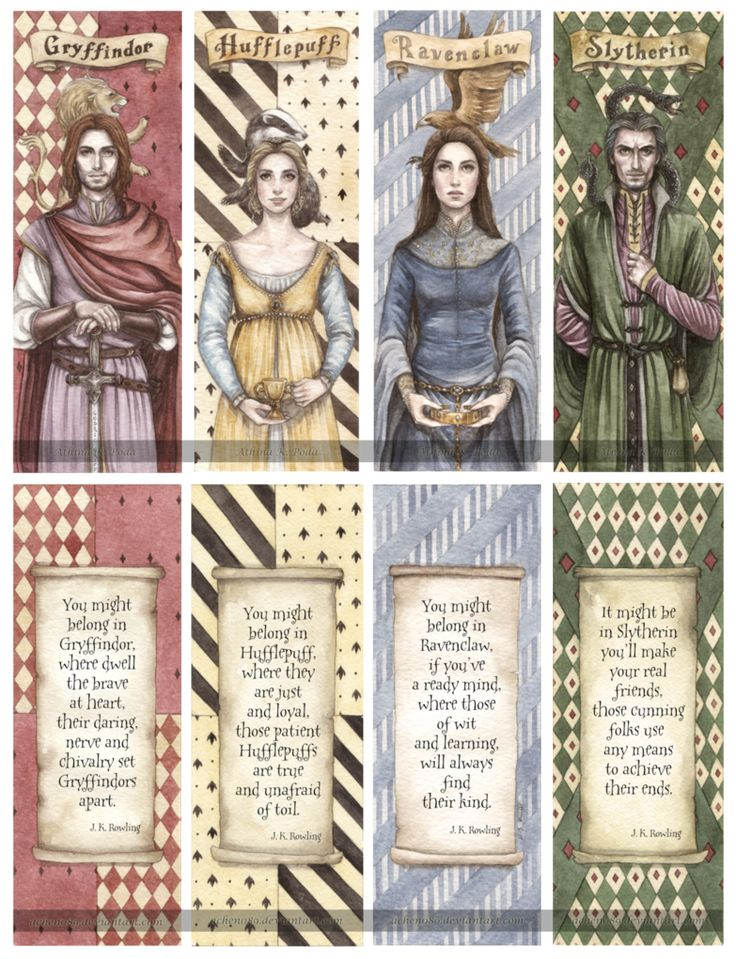 Hogwarts Founders Double-Sided Bookmarks by Achen089 on deviantART
