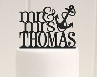 Custom Nautical Wedding Cake Topper Mr and Mrs Anchor with Your Last Name