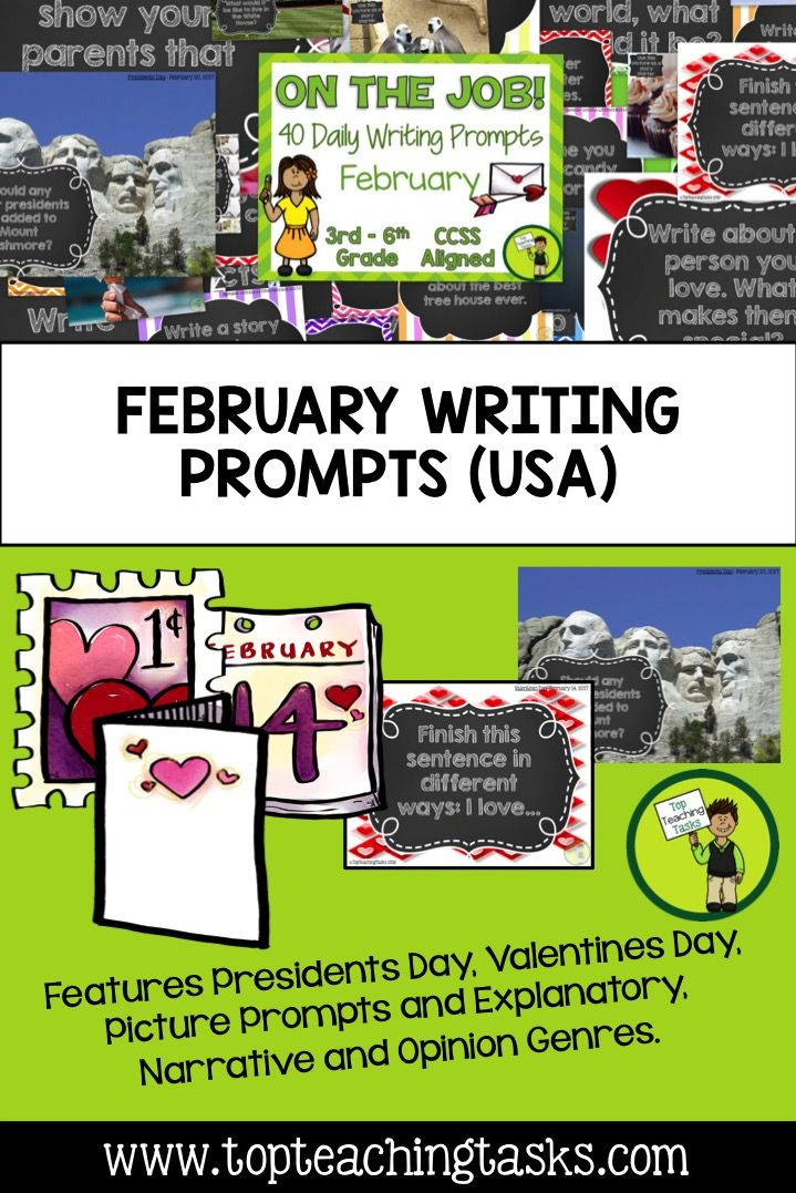 This resource includes 42 Daily Writing Prompts in three formats: PowerPoint, Journal and Worksheets. These prompts are perfect for a morning work activity, homework task or as part of your writing program. You can choose the prompts that suit your class best!  You will receive: •	8 Explanatory prompts •	8 Opinion/persuasive prompts •	8 Narrative prompts (story starters) •	10 photo/picture prompts •	8 special January dates: - Valentines Day  - Presidents' Day  - Black History Month