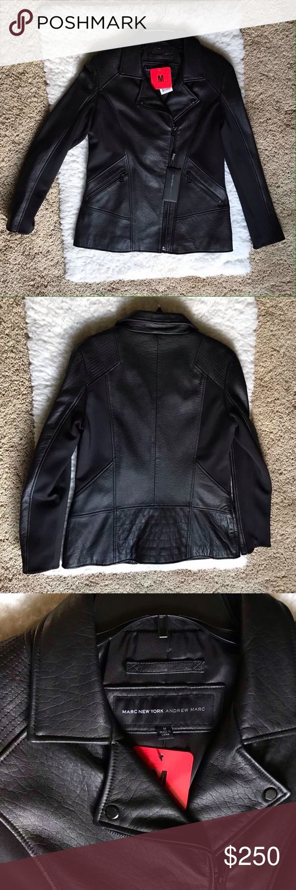 NWT Marc NY Andrew Marc Leather Jacket NWT Marc NY Andrew Marc Leather Jacket Color: Black Size Medium Retail Value: $400 Brand: Marc New York Andrew Marc Andrew Marc Jackets & Coats