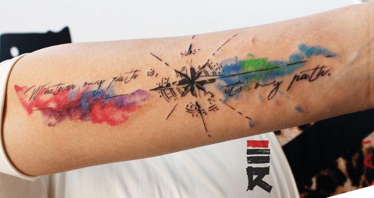 Water color compass tattoo by enhancertattoo.deviantart.com on @DeviantArt