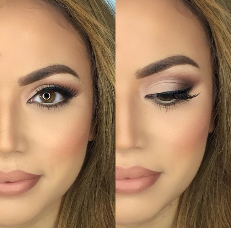 Love this makeup look, bronzed skin with a nude matte lip.
